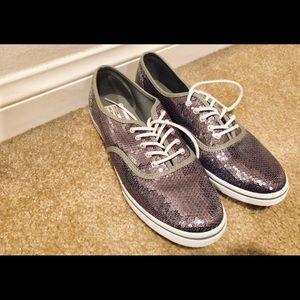 Silver sequin Vans lace up SZ 8.5